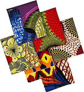 African Fabric Fat Quarters 19.5 x 15.7 Inch/ 50 x 40 cm Ankara Wax Print Fabric African Print Quilting Fabric for Sewing Face Protectors Crafting Projects, 6 Pieces