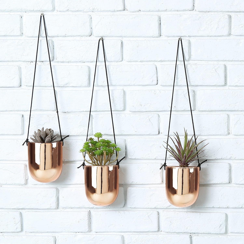 Amazon.com: Metallic Copper-Tone Ceramic 4 Inch Hanging Succulent ...