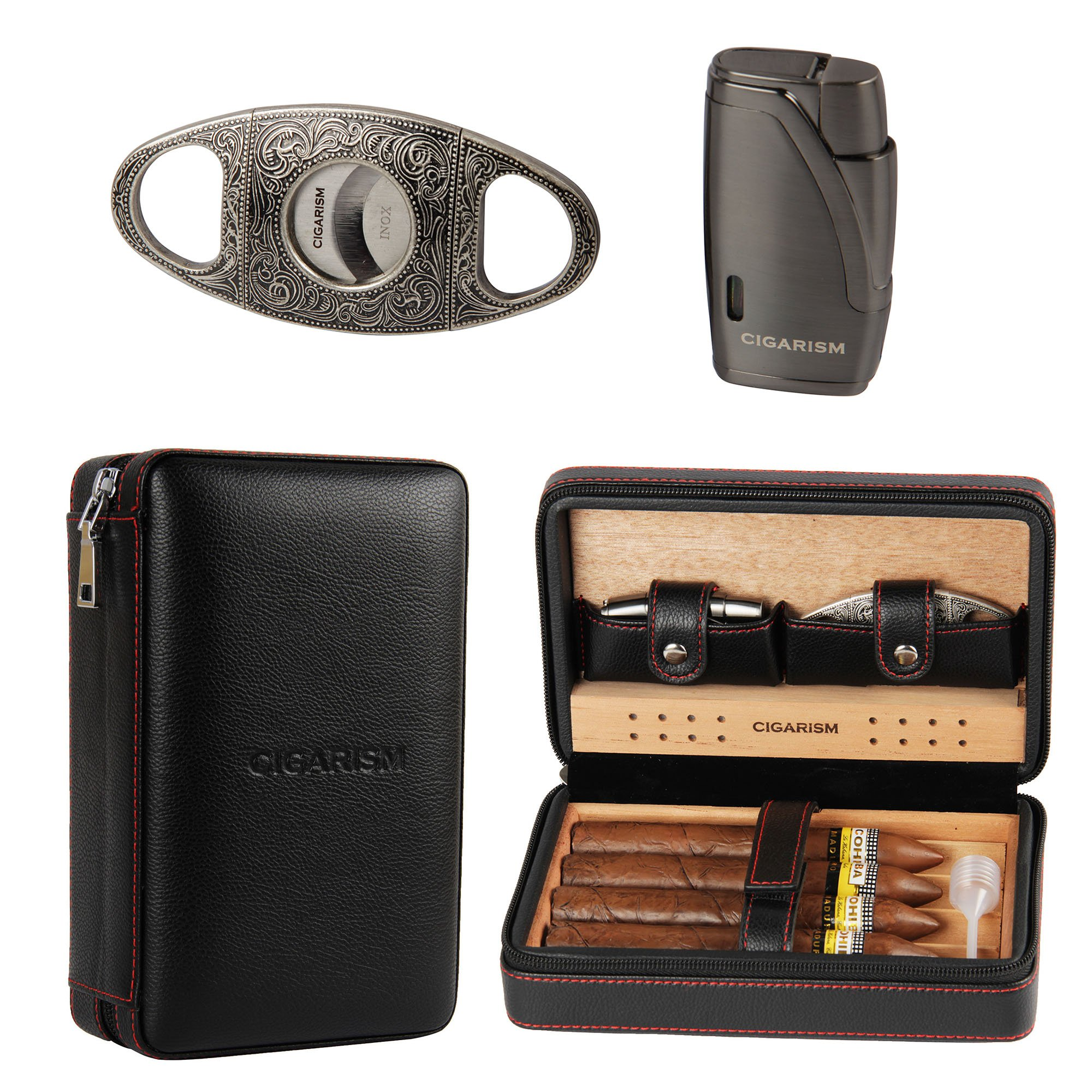 CIGARISM Cedar Lined Cigar Case Travel Humidor W/Cutter Set 4 Count (Black) by CIGARISM
