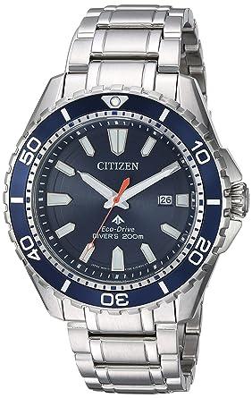 Citizen Men s Eco-Drive Japanese-Quartz Diving Watch with Stainless-Steel  Strap 2b91772de6