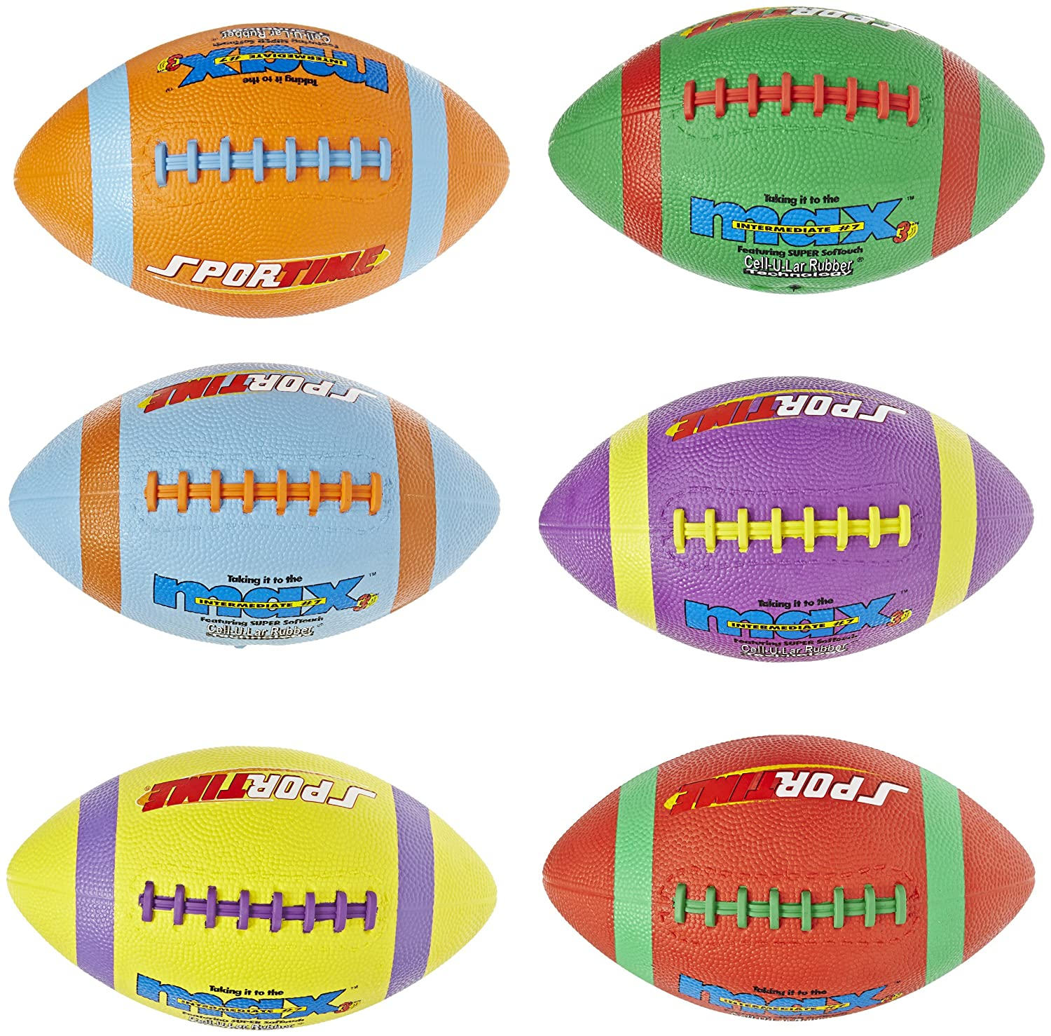 Set of 6 Siam Ball Sport Factory Co 016588 Size 7 Assorted Colors SportimeMax Intermediate Footballs