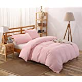 Colourful Snail 100-Percent Natural Washed Cotton Duvet Cover Set, Ultra Soft and Easy Care, Fade Resistant, Queen/Full, Blush