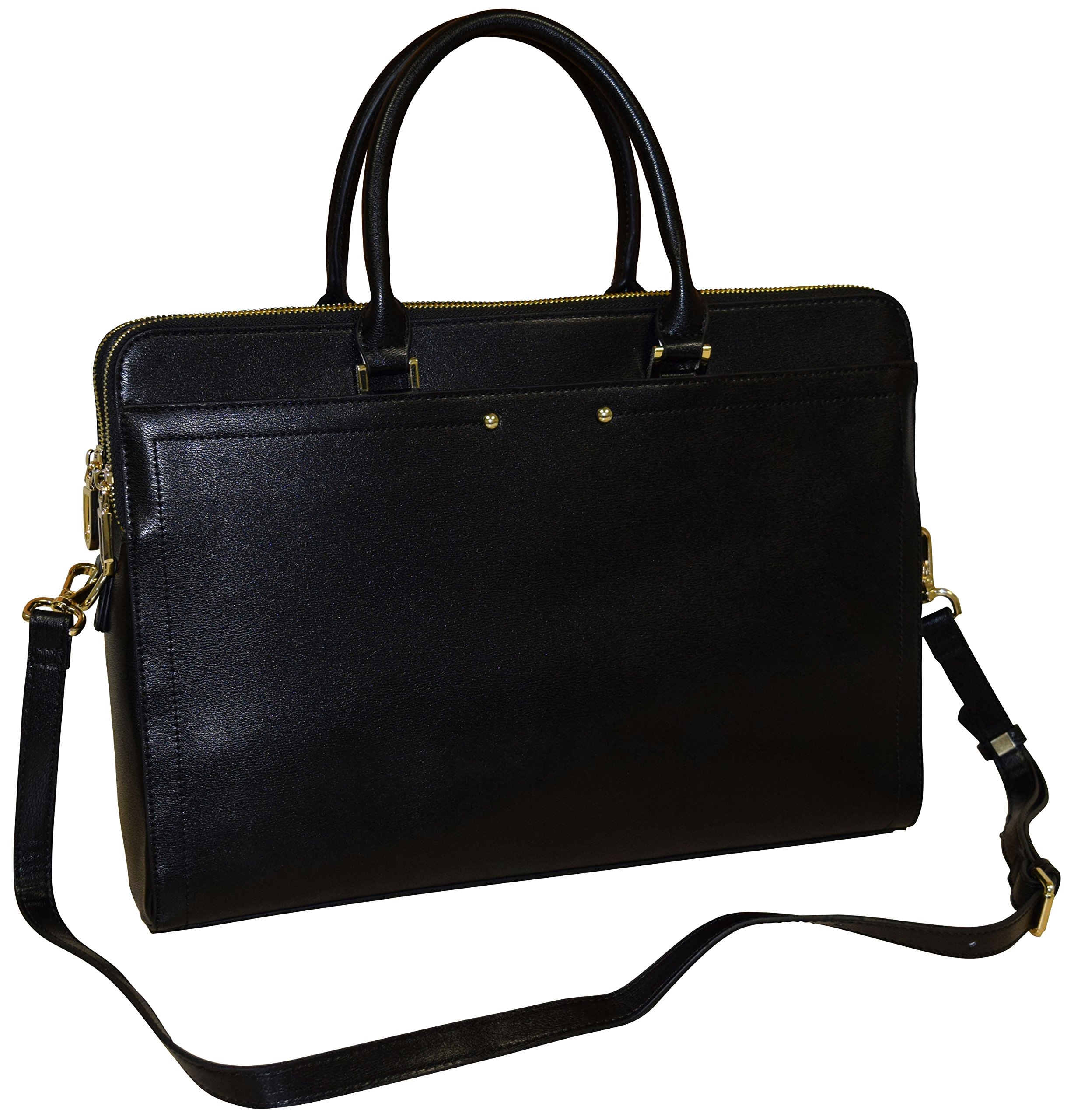 KQ New York Women's 15.5'' Notebook Satchel Shoulder Bag - Carryall Messenger Business Briefcase With Laptop Pocket (Black )