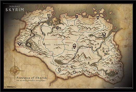 Amazon Com Trends International Elder Scrolls Skyrim Map Mounted