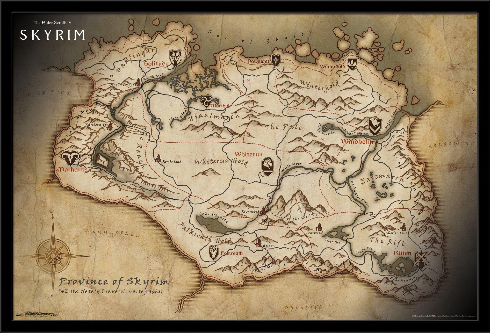 Trends International Elder Scrolls Skyrim Map Mounted Poster 22.375'' x 34'' by Trends International