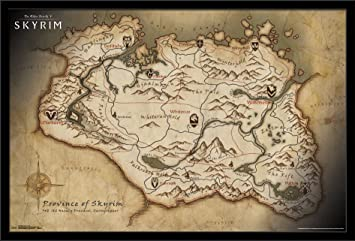 Trends International Elder Scrolls Skyrim Map Mounted Poster 22.375