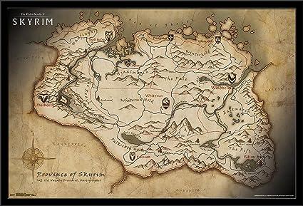 Amazoncom Trends International Elder Scrolls Skyrim Map Mounted