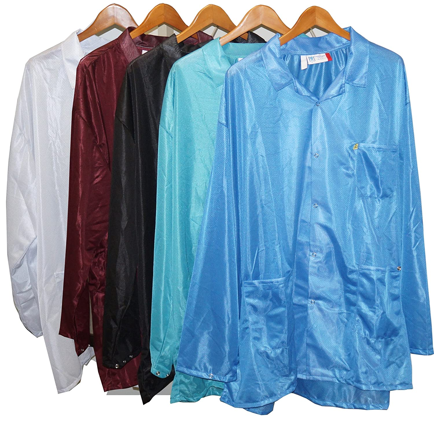 Anti-Static Lab Coat Small StaticTek Full Sleeve Snap Cuff ESD Jacket ESD Smocks with High ESD Protection Certified Level 3 Static Shielding Light Weight TT/_JKC9022SPLB Light Blue