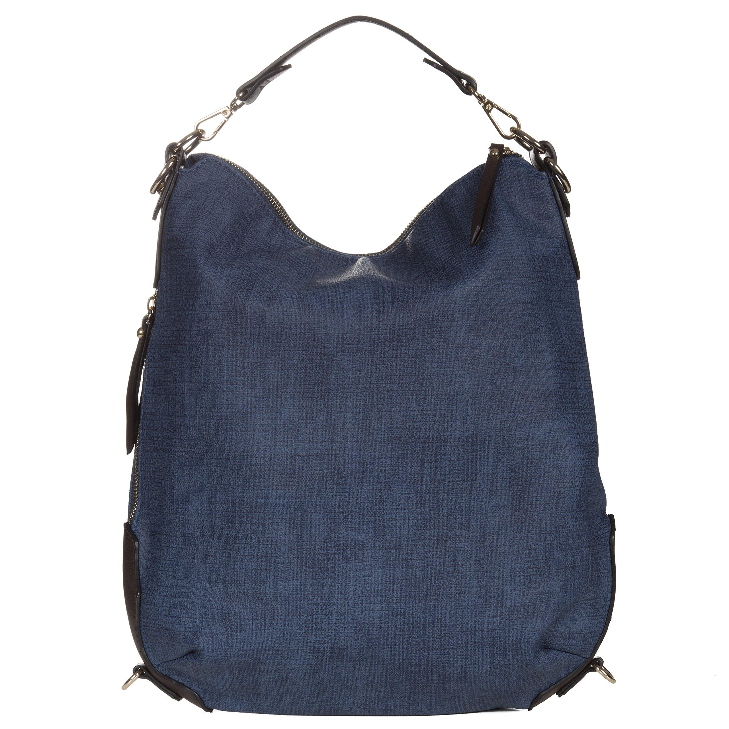 Handbag Republic Vegan Leather Women's PU Leather Designer Handbag Top Handle Tote Convertible Backpack (Denim)