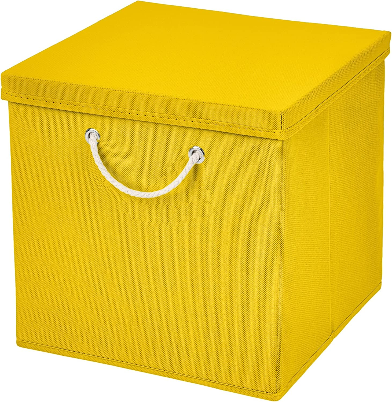 Caja de almacenaje, 30 x 30 x 30 cm, con tapa, amarillo, 1 unidad ...