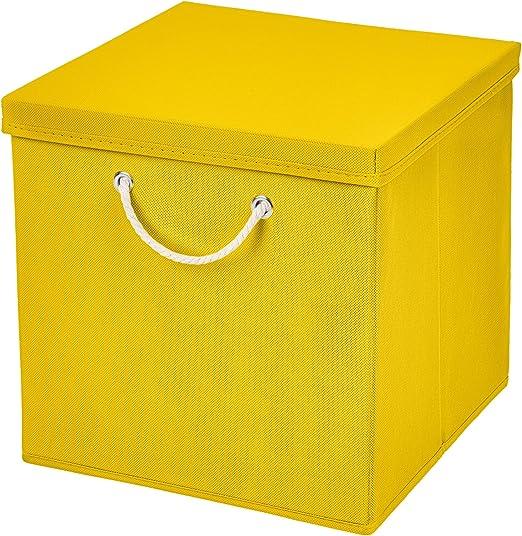 Caja de almacenaje, 30 x 30 x 30 cm, con tapa, amarillo, 1 unidad: Amazon.es: Hogar