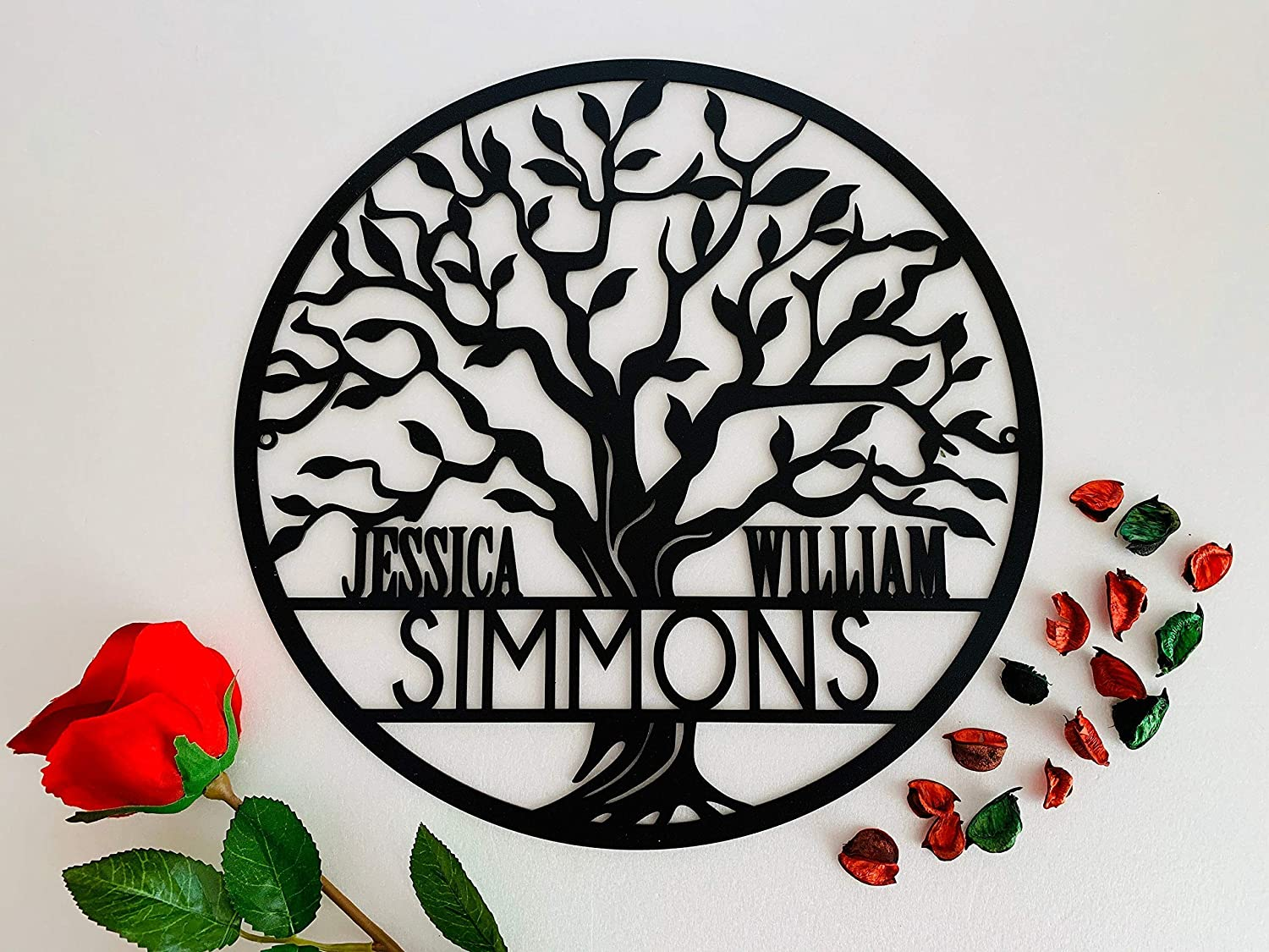 Personalized Tree of Life Metal Sign Family Last Name Outdoor Use Wedding Gift Custom First Names Front Door Wall Art Decor Wreath Wall Hanging Monogram Plaque Housewarming Gift for Couple Door Hanger