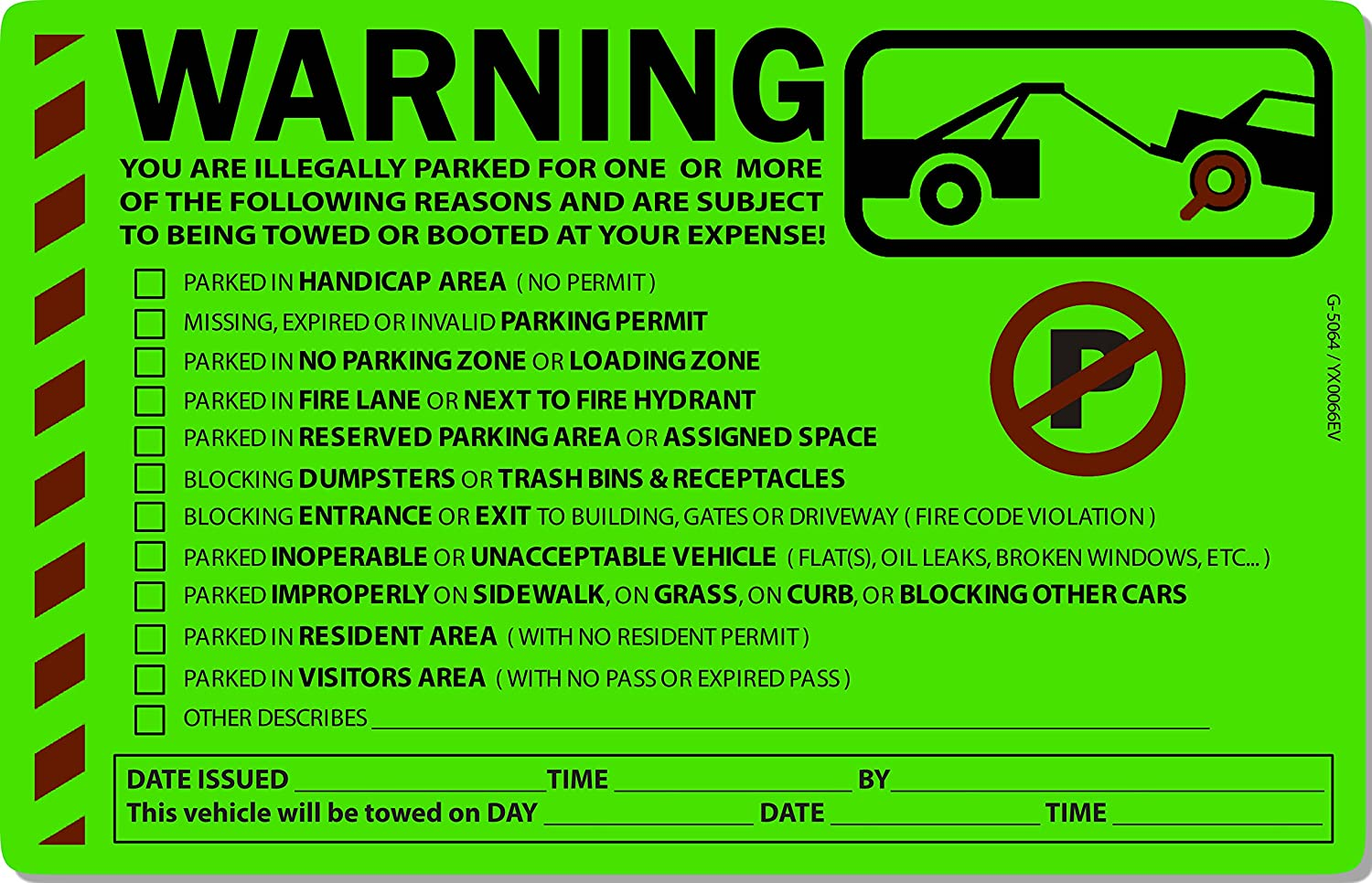 Amazon com 50 green fluorescent multi reason warning violation no parking towing car window sign stickers 8x5 office products
