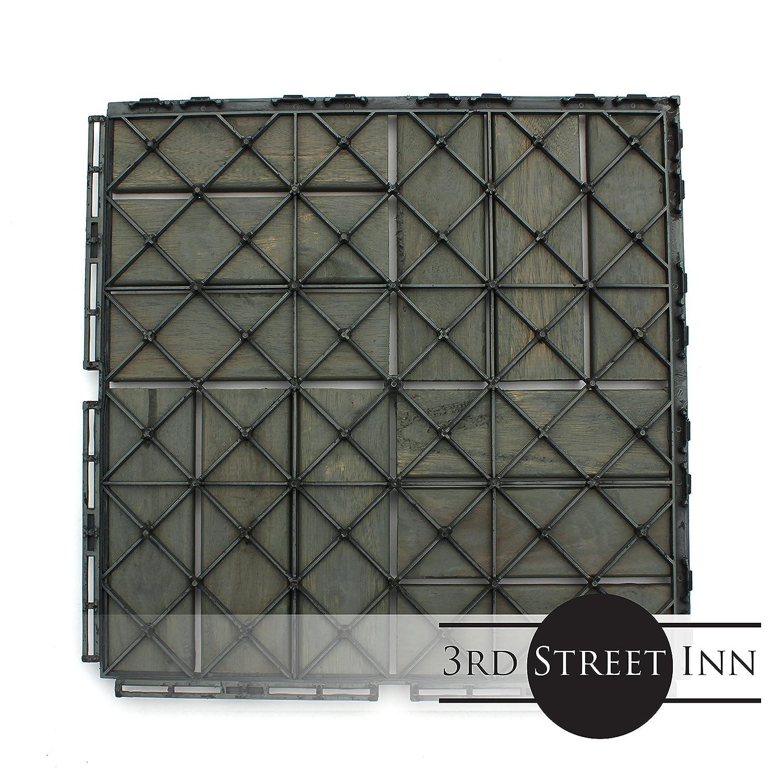 Acacia Wood Outdoor Flooring Interlocking Patio Tiles Patio Pavers Deck Tiles Checker Pattern Decking 10 Pack 12x12 - Modern Grey Finish