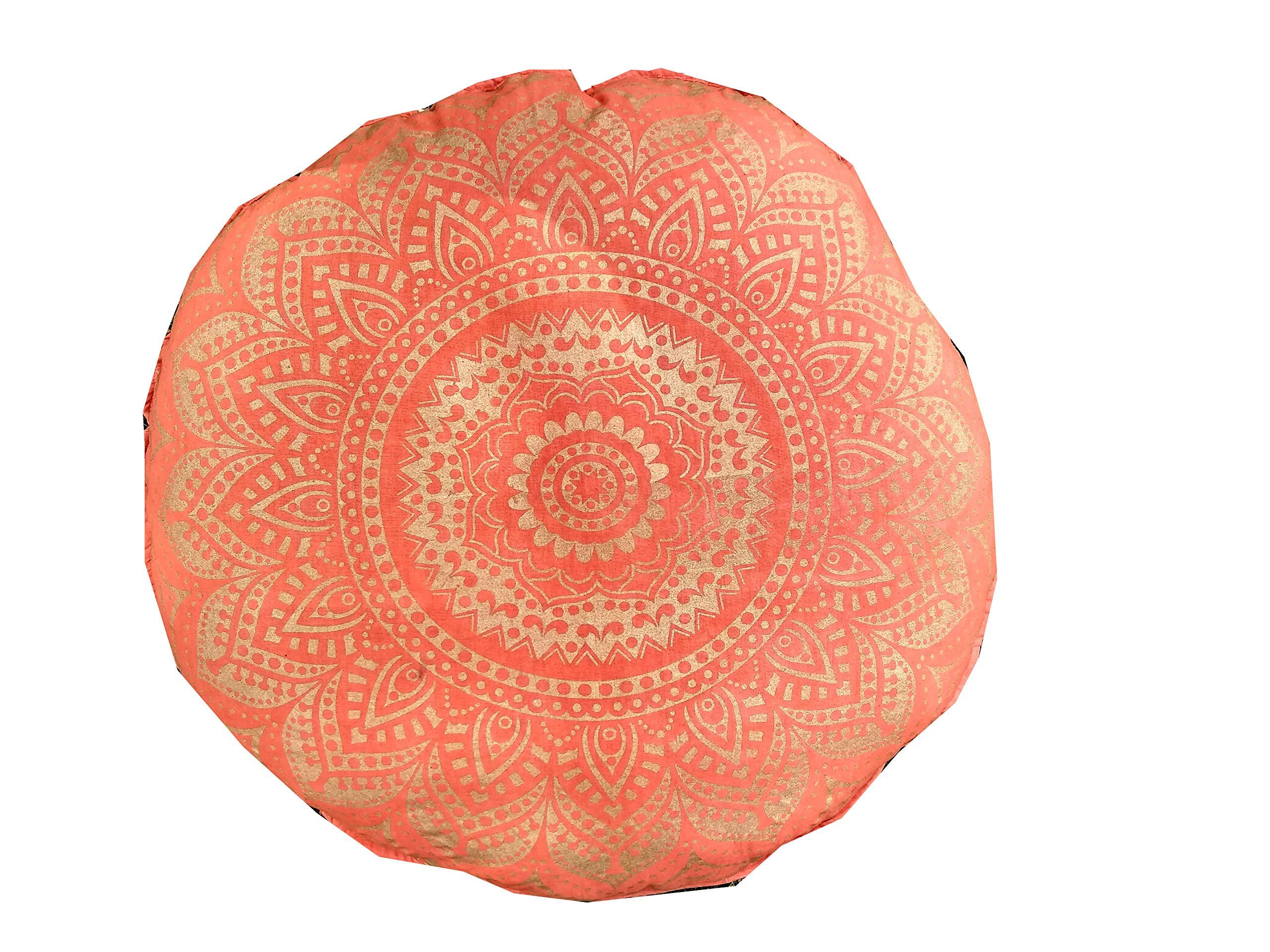 32'' Gold Mandala Barmeri Large Floor Pillow Cover Cushion Meditation Seating Ottoman Throw Cover Hippie Decorative Zipped Bohemian Pouf Ottoman Poufs, Pom Pom Pillow Cases (Orange)