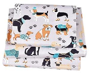 J-pinno Dogs Puppy Twin Sheet Set for Kids Boy Children,100% Cotton, Flat Sheet + Fitted Sheet + Pillowcase Bedding Set