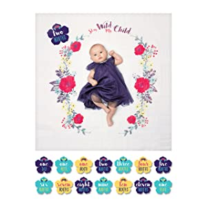 lulujo Baby's First Year Milestone Blanket and Card Set | 40in x 40in| Baby Shower Gift | Stay Wild My Child