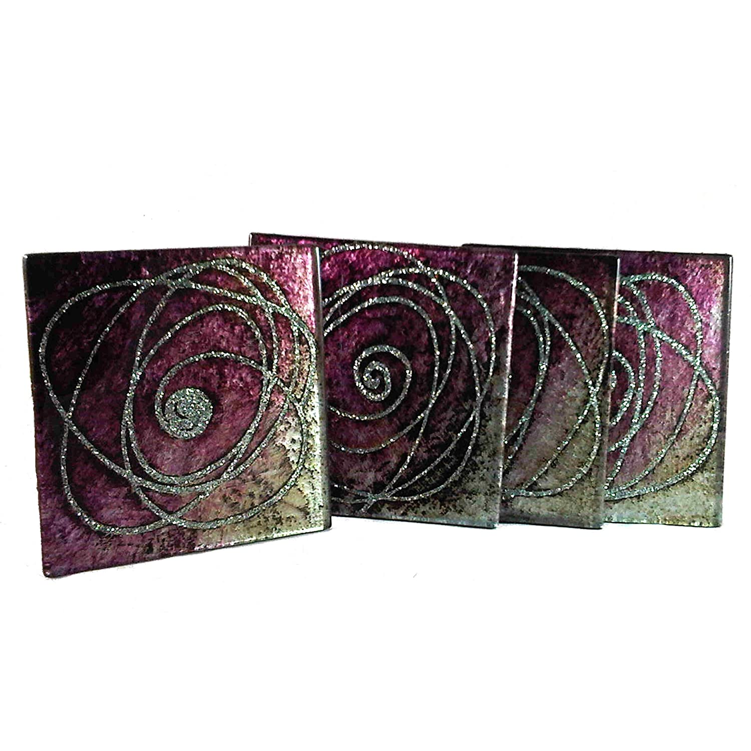 Glass Coasters set of 4 cosmos black and silver