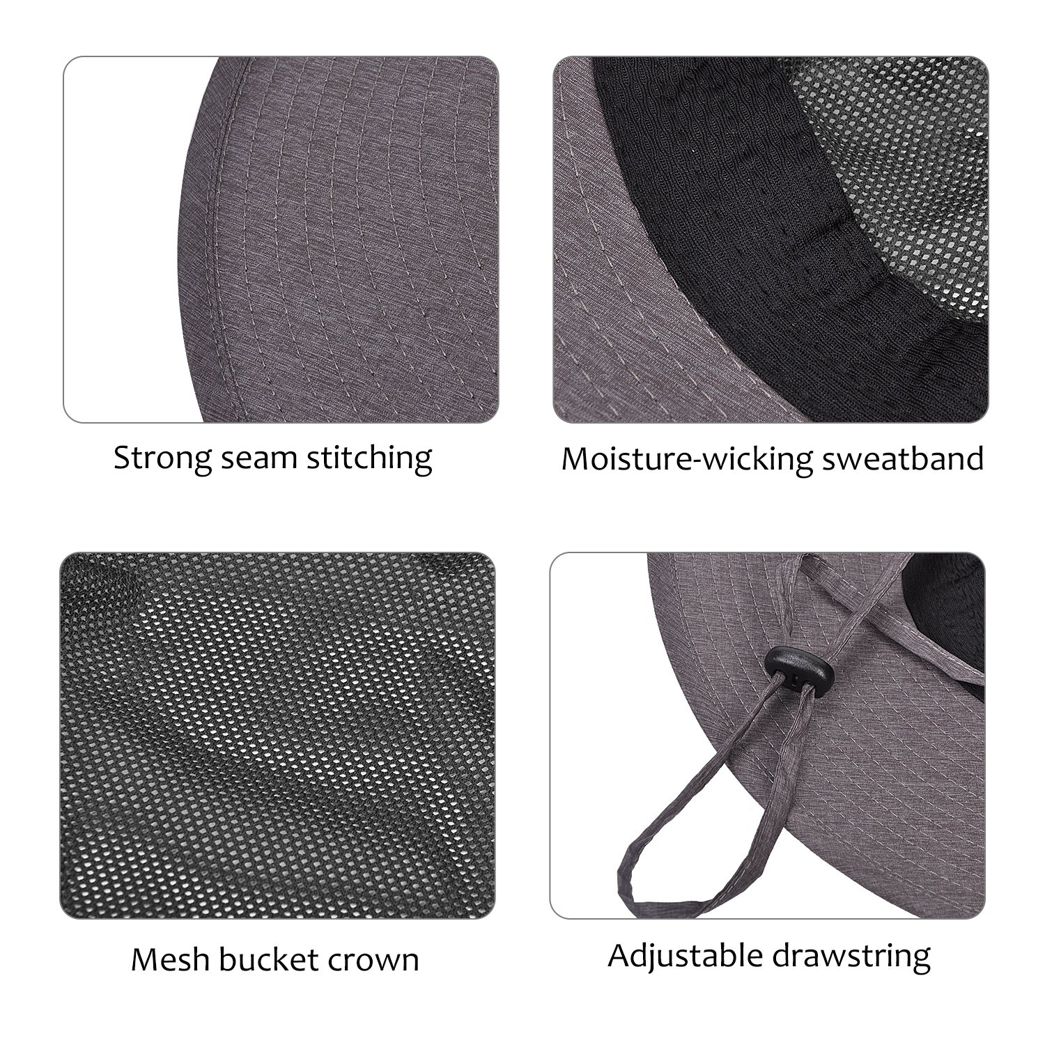 e760cb78ecc Amazon.com   Mens Wide Brim Sun Hat Safari Boonie Fishing Hat with Adjustable  Drawstring and Removable Bucket Crown for Outdoor Camping Hiking Hunting ...
