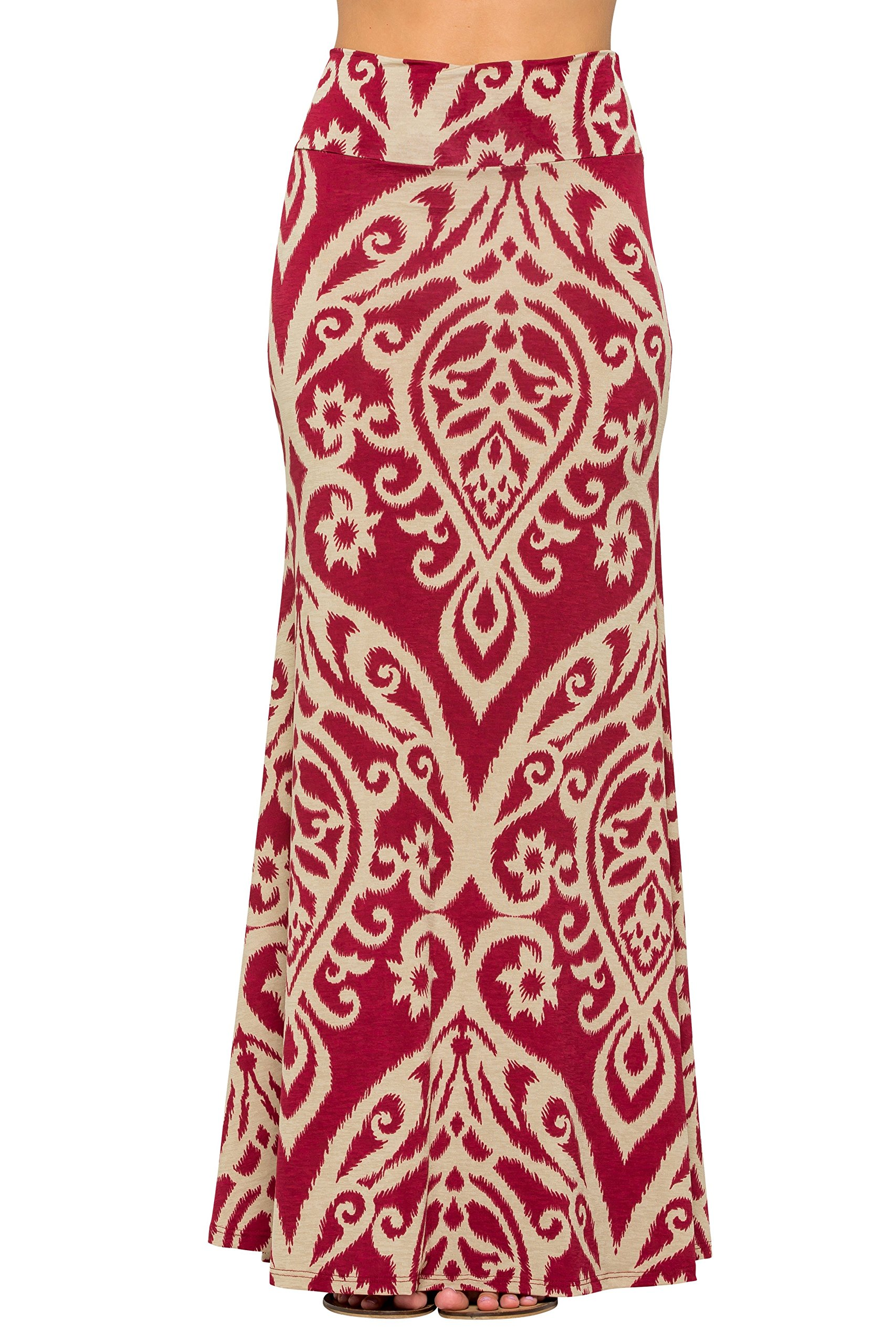 Junky Closet Women's Foldover High Waisted Floor Length Maxi Skirt (Medium, Damask 222 Burgundy Taupe)