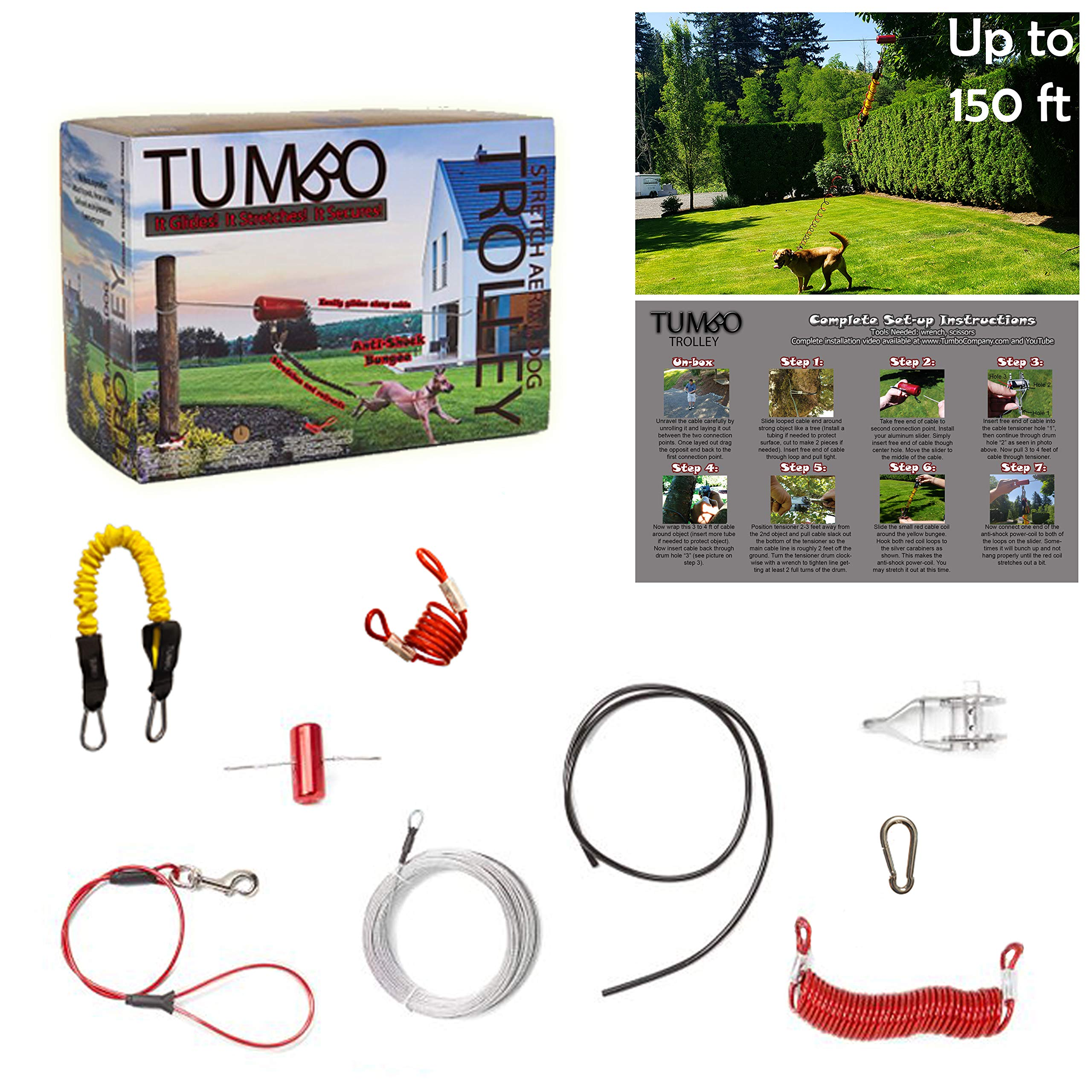 Tumbo Trolley Dog 150 ft Containment System - Stretching Coil Cable with Anti-Shock Bungee (Safer and Less tangles) Aerial Dog Tie Out by Tumbo