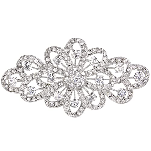 EVER FAITH® österreichischen Kristall Braut elegant Filigran Schleife Brosche klar Silber-Ton A11705...