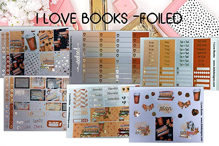 I Love Books, Foil Planner Sticker Kit 6 sheets on matte  Erin Condren Life  Planner or Happy Planner Create 365 sizes available  Kiss cut, just peel