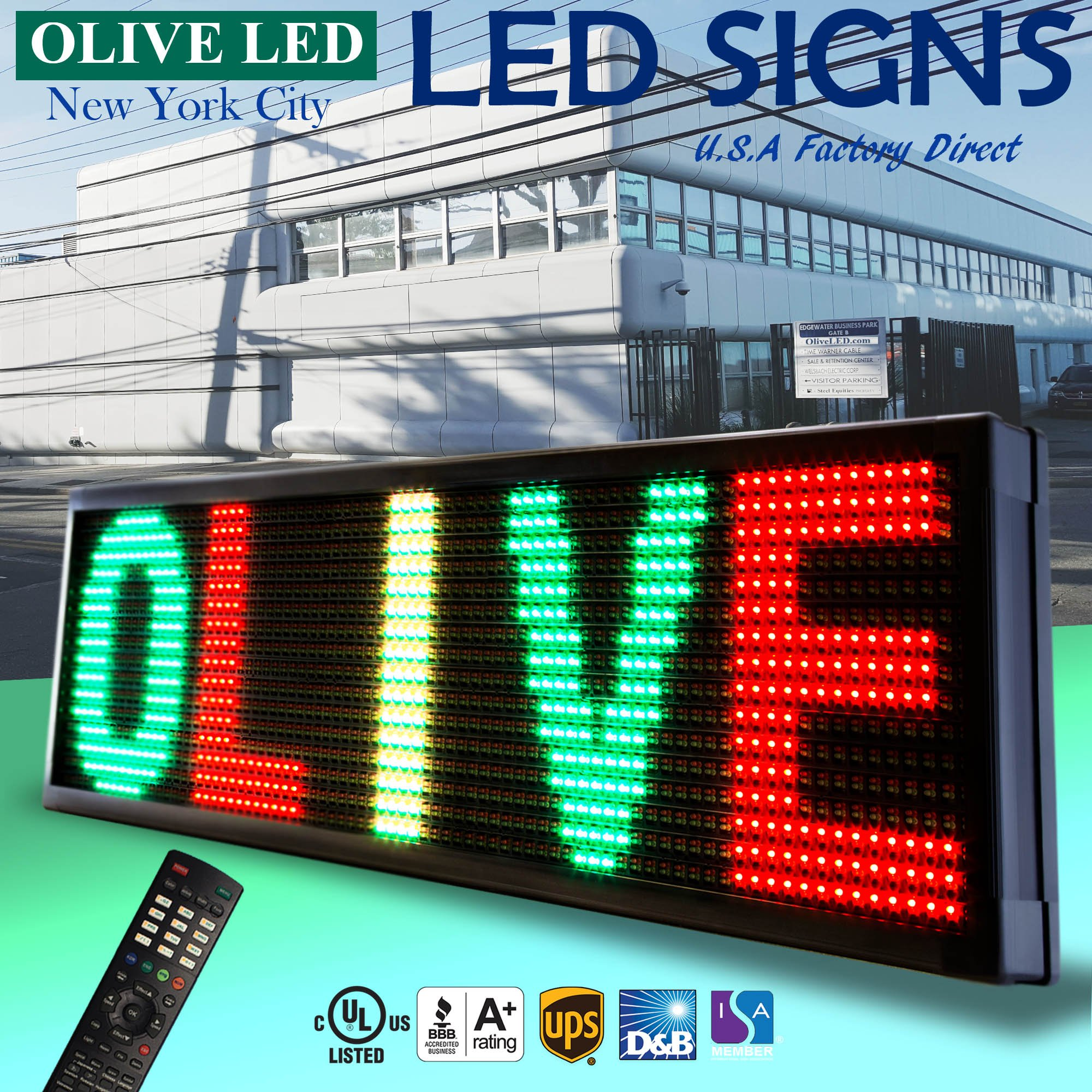 OLIVE LED Sign 3Color RGY, P20, 15''x40'' IR Programmable Scrolling Outdoor Message Display Signs EMC - Industrial Grade Business Ad machine.