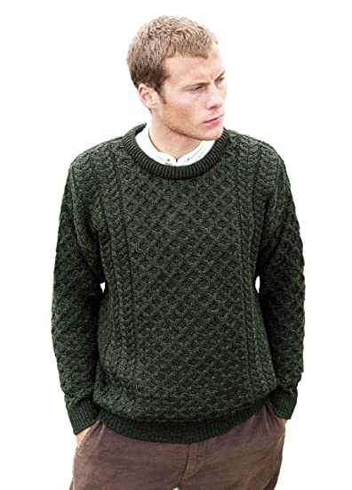 5b1b1332e63d2 Aran Crafts Extra Small (XS) Merino Crew Neck Sweater Irish Army Green  Merino Crew