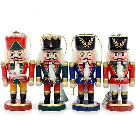 Amazon.com: WOODEN NUTCRACKER ORNAMENT SET OF 4 - Christmas ...