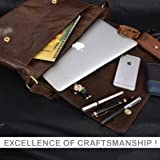 Leather Laptop Messenger Bag for Men - Premium