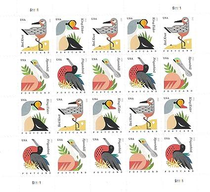 Coastal Birds Sheet Of 20 Postcard Forever US Postage Stamps By USPS