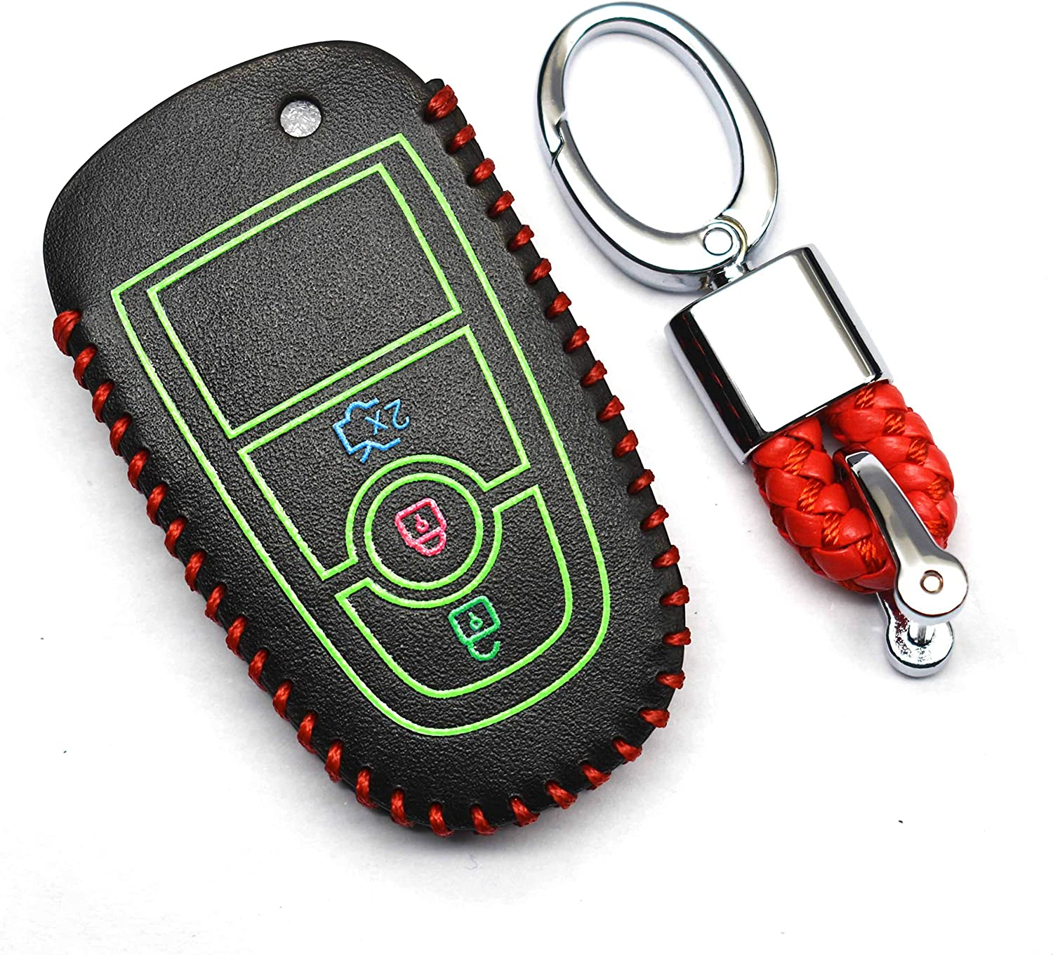 ontto Smart Key Case Protector Keyless PU Leather Key Fob Cover Shell Holder Keychain Fit for Ford Fusion Ecosport Edge Blue String