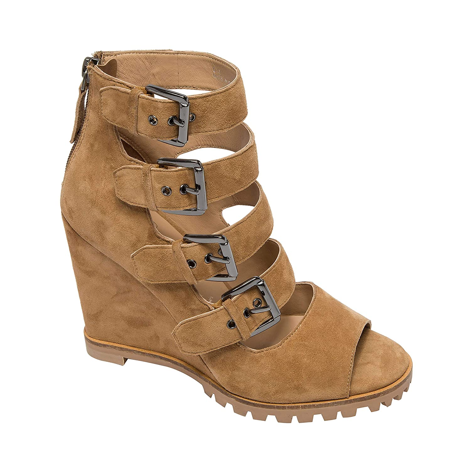 d7b567b338cd1 Amazon.com | Linea Paolo | Wisteria | High Wedge Strappy Peep Toe Lug Sole  Suede Bootie (New Spring) | Boots