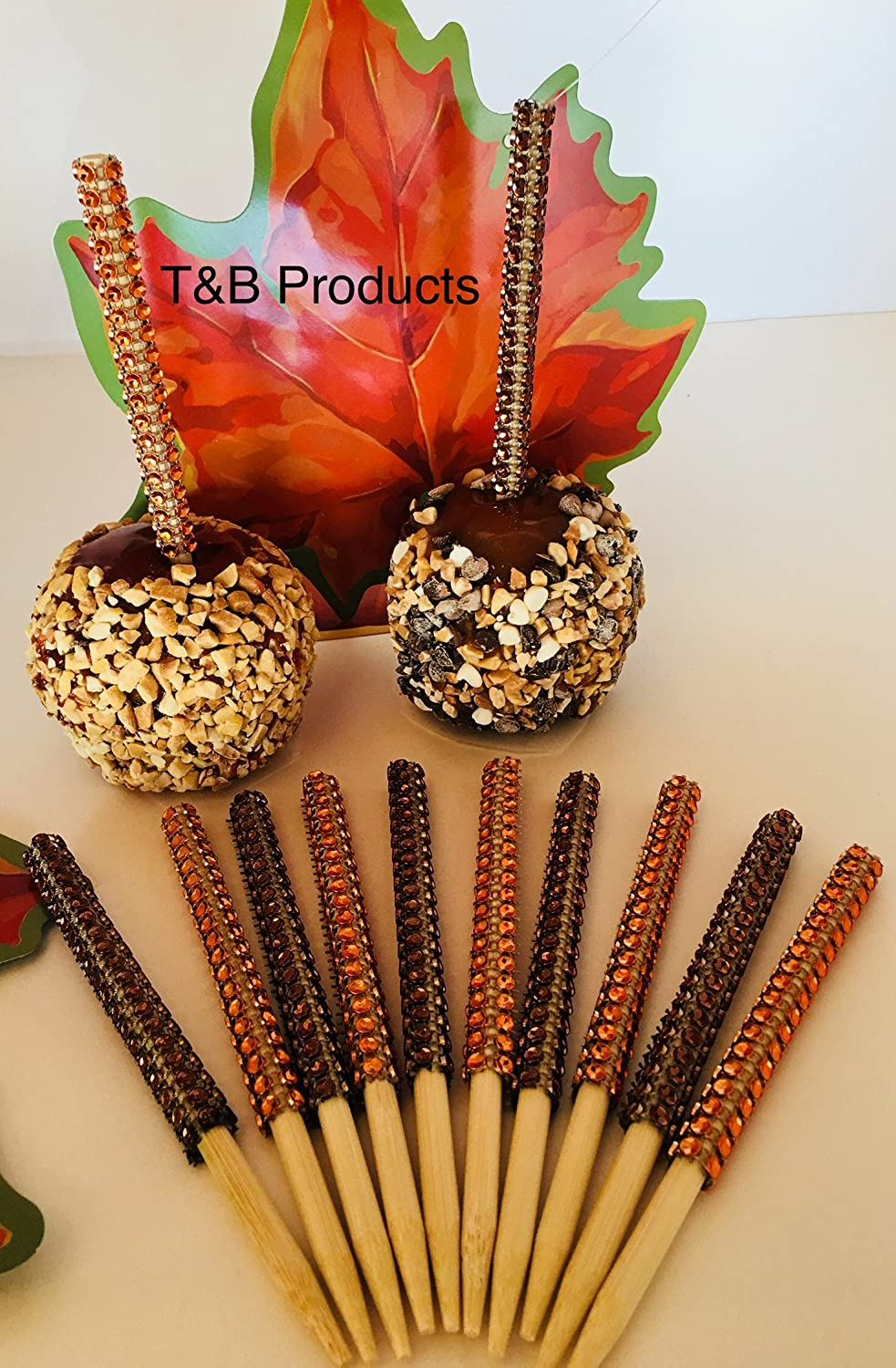 12 PC HALLOWEEN (6)Orange and (6) Black Bling Candy Apple Sticks