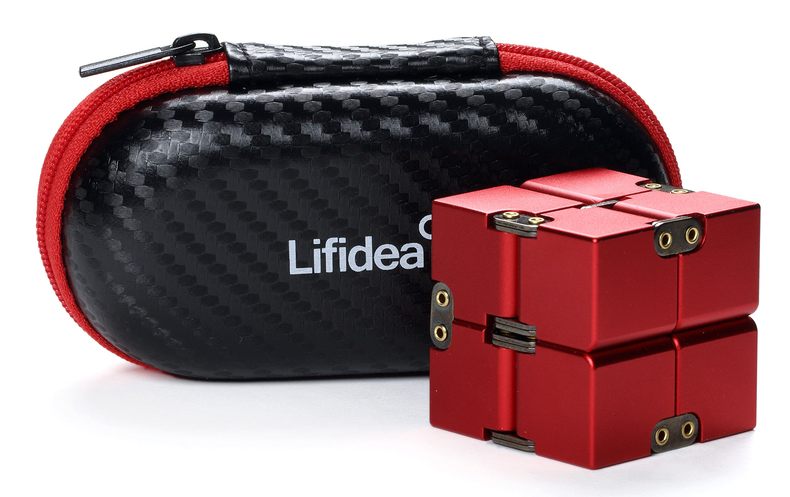 Lifidea Aluminum Alloy Metal Infinity Cube Fidget Cube (5 Colors) Handheld Fidget Toy Desk Toy with Cool Case Infinity Magic Cube Relieve Stress Anxiety ADHD OCD for Kids and Adults (Red) by Lifidea