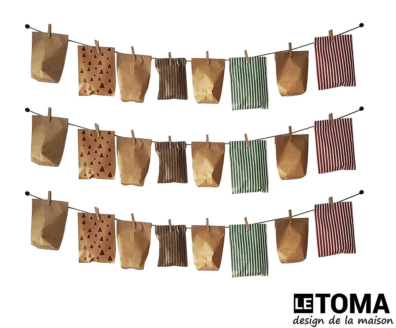 Corde-Photos avec Pinces /à Linge LeTOMA 60 cm de Corde en Chanvre Naturel et 6 Crochets en Bois Naturel pour Mettre Vos Photos et Cartes Postales dans la lumi/ère Montage Rapide et Facile