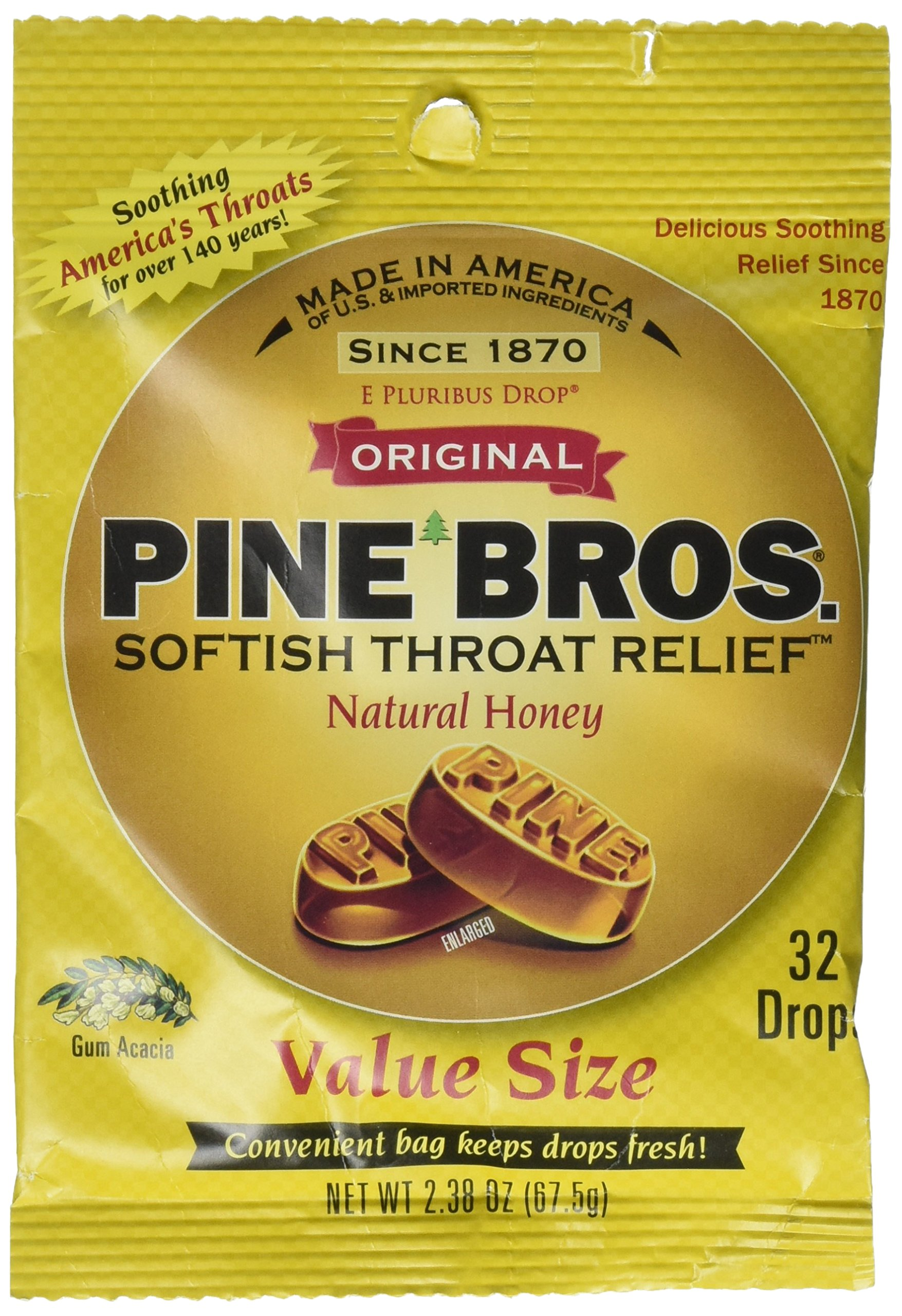 Pine Bros. Softish Throat Drops Value Size, Natural Honey, 32 Count (Pack of 3)