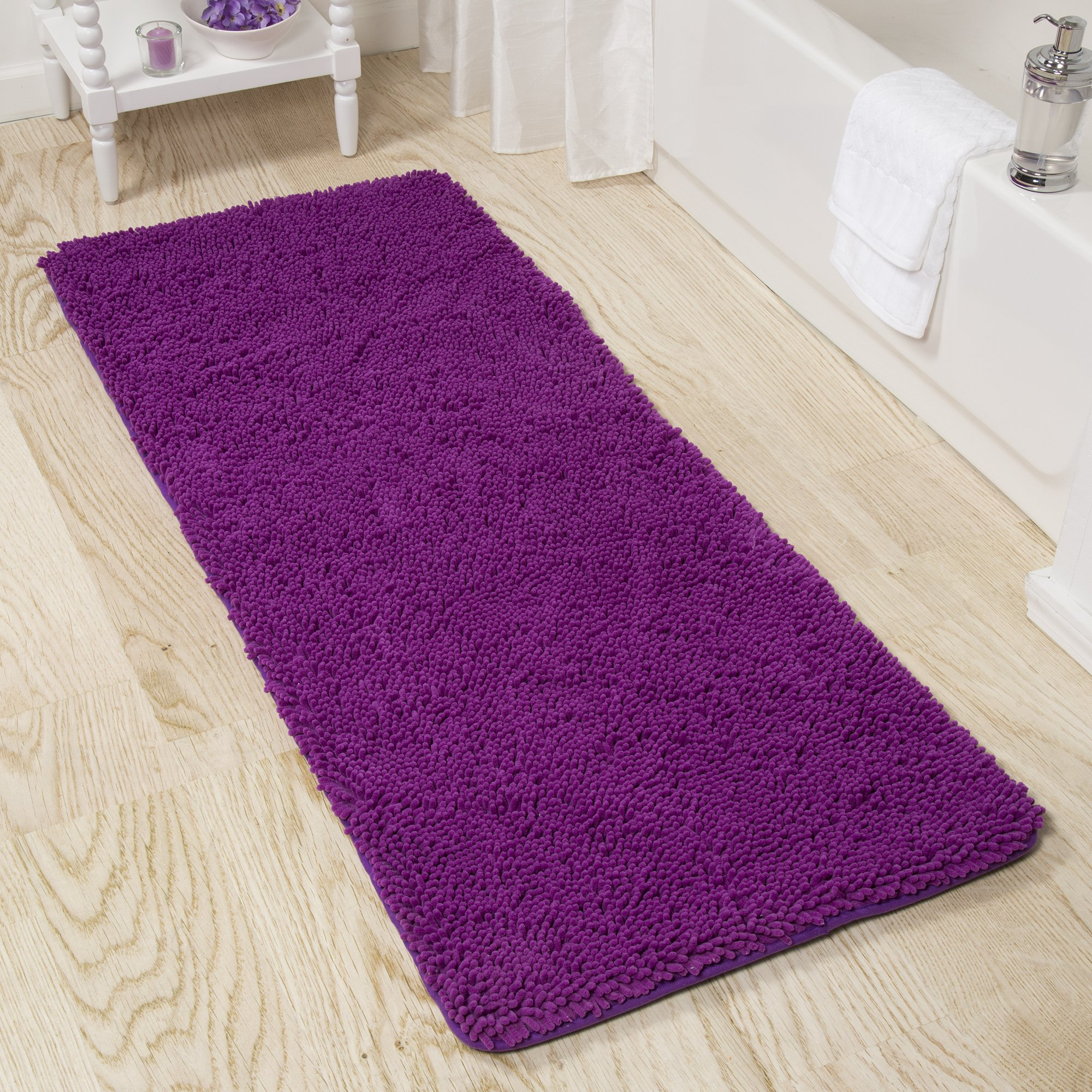 Bedford Home Memory Foam Shag Bath Mat 2-Feet by 5-Feet - Purple