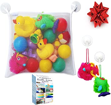Bath Toy Organizer   Large Storage Net Bag Holder For Bathtub Toys | Bonus  Heavy Duty