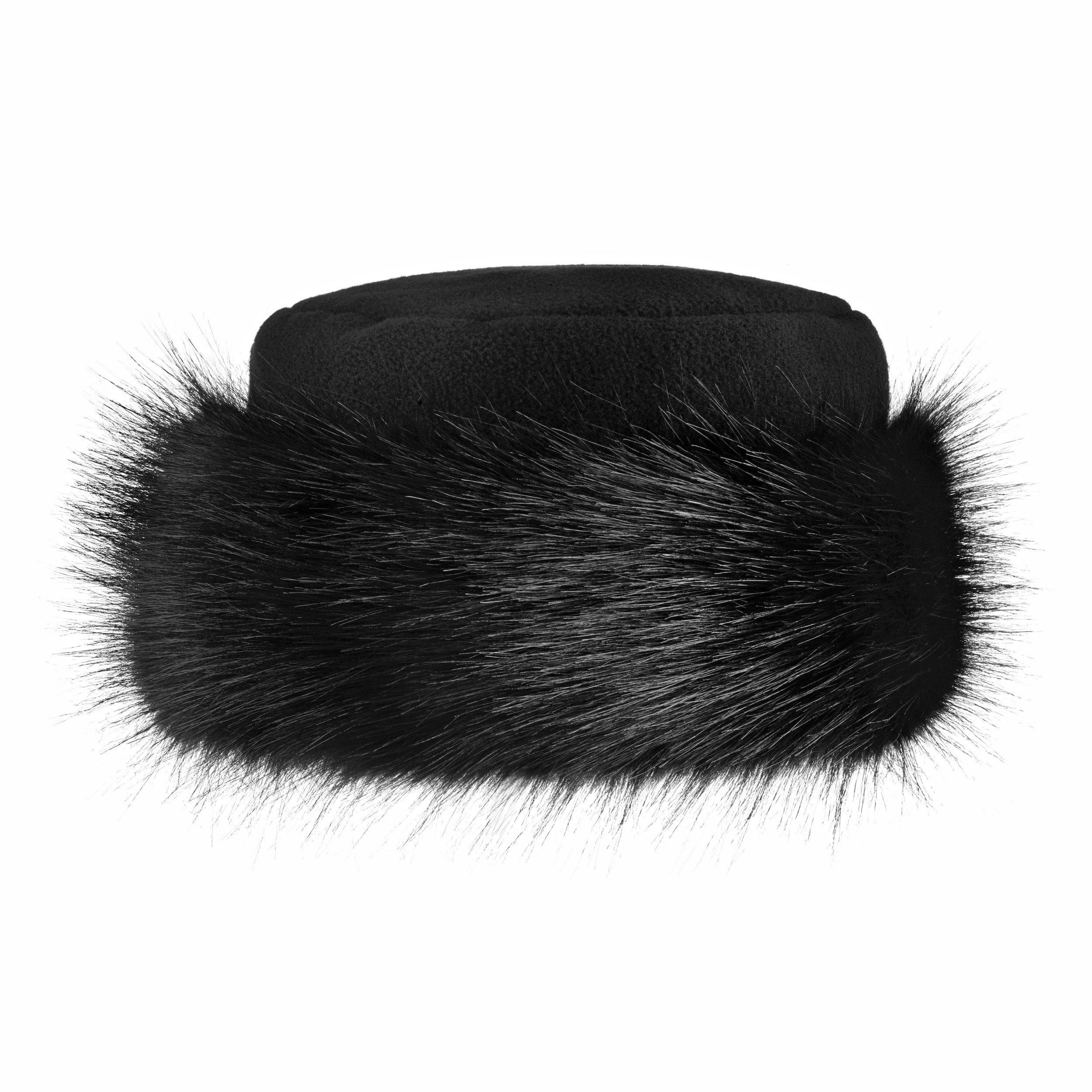 Futrzane Faux Fur Hat with Fleece Winter Ladies Women (M, Black/Black)
