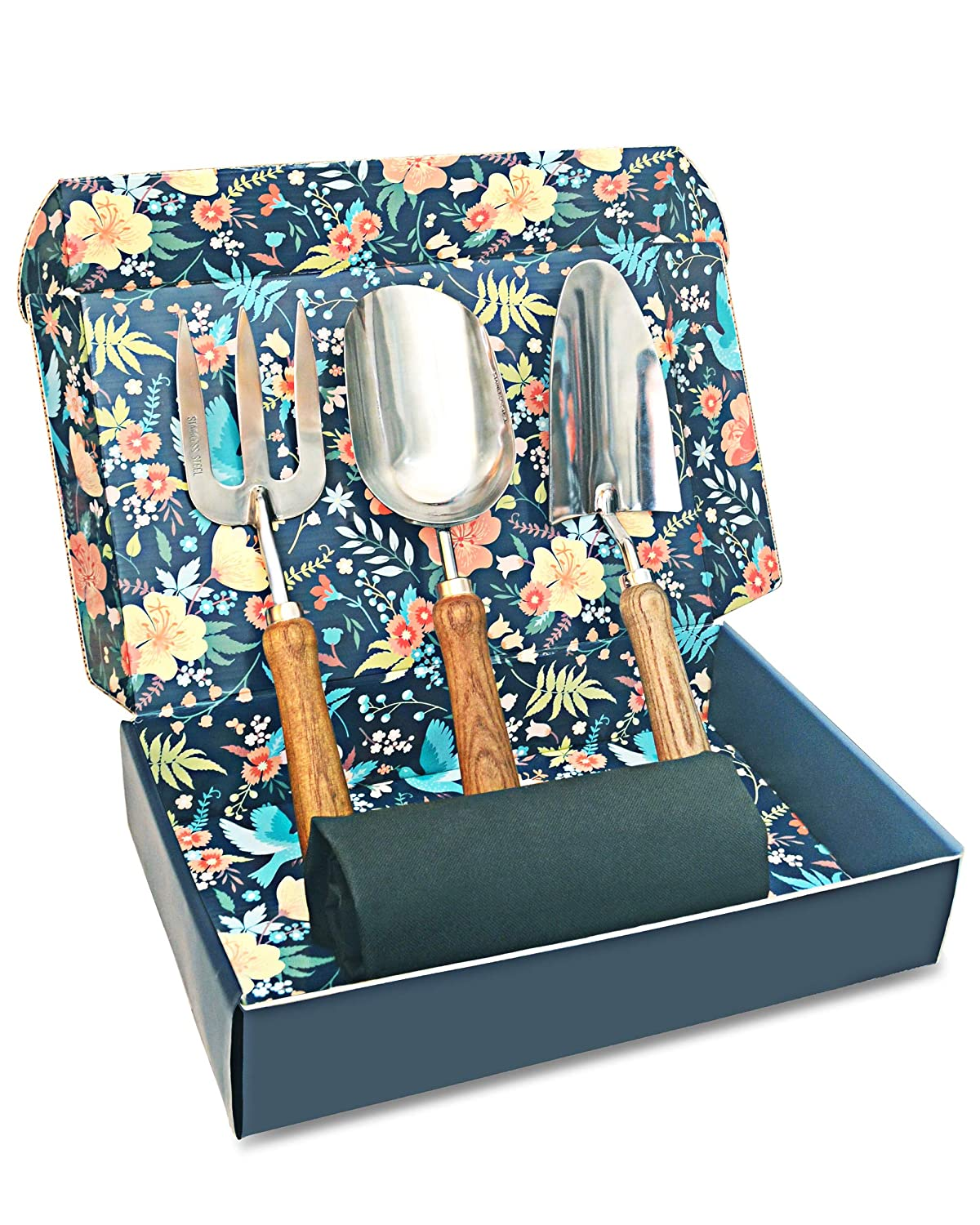 Sunphio Gardening Tools Set with Heavy Duty Garden Hand Trowel Spade Shovel and Fork Kit Forged Stainless Steel and Never Fall Off Wood Handle 1 Indoor Work Mat 1 Beautiful Gift Box for Women Men
