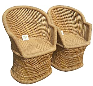 Ecowoodies Arbutus Garden/Lawn/Indoor Outdoor Terrace Balcony Restaurant Pubs Cafe Cane Chair (2 Beige Cane Chair)