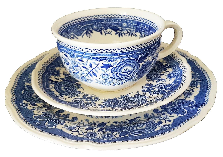 Untertasse 3 x Kaffeetasse u Villeroy /& Boch Burgenland blau