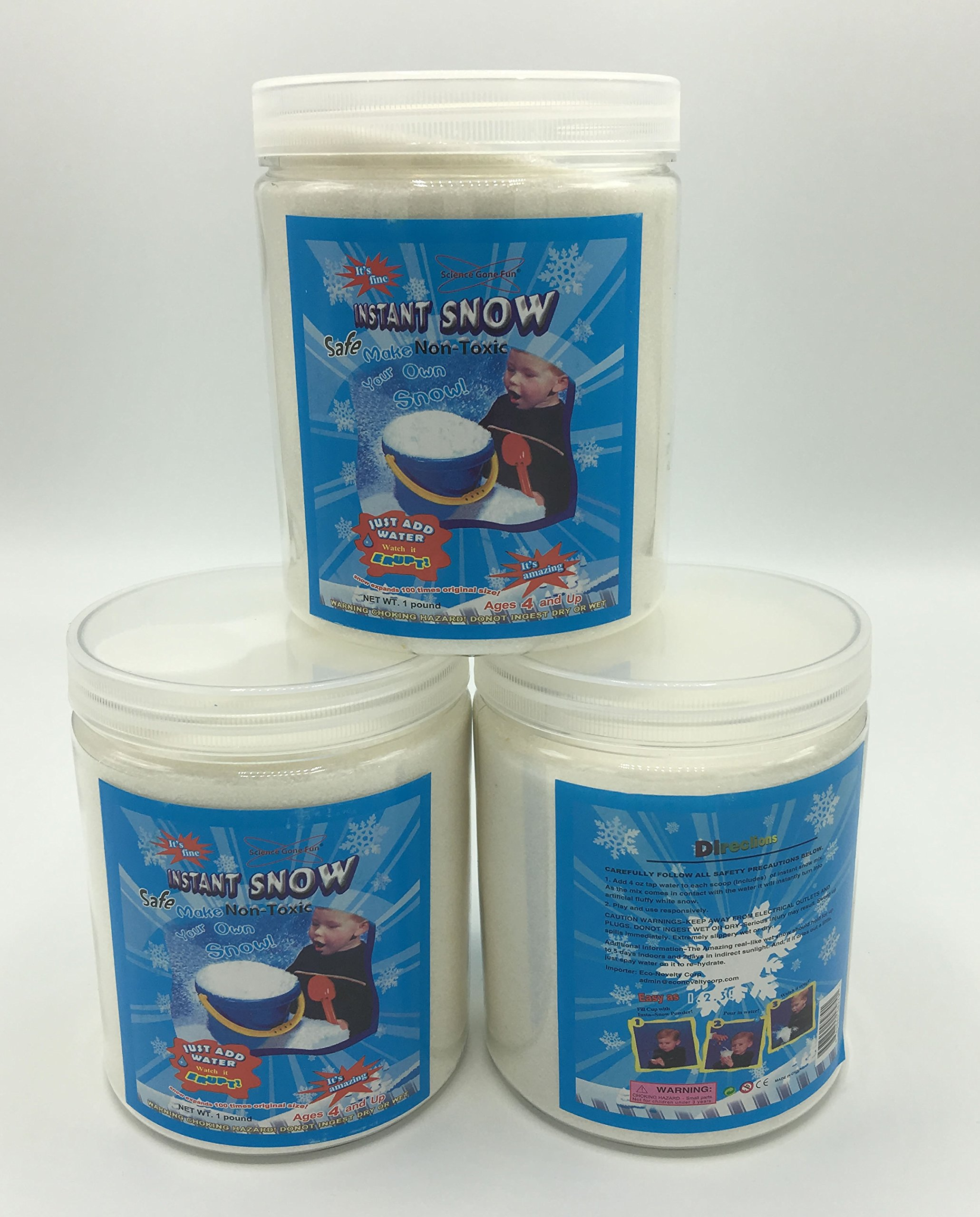 Magic Instant Expanding Snow Powder 1 Pound Jar (3), Makes 24 Gallons