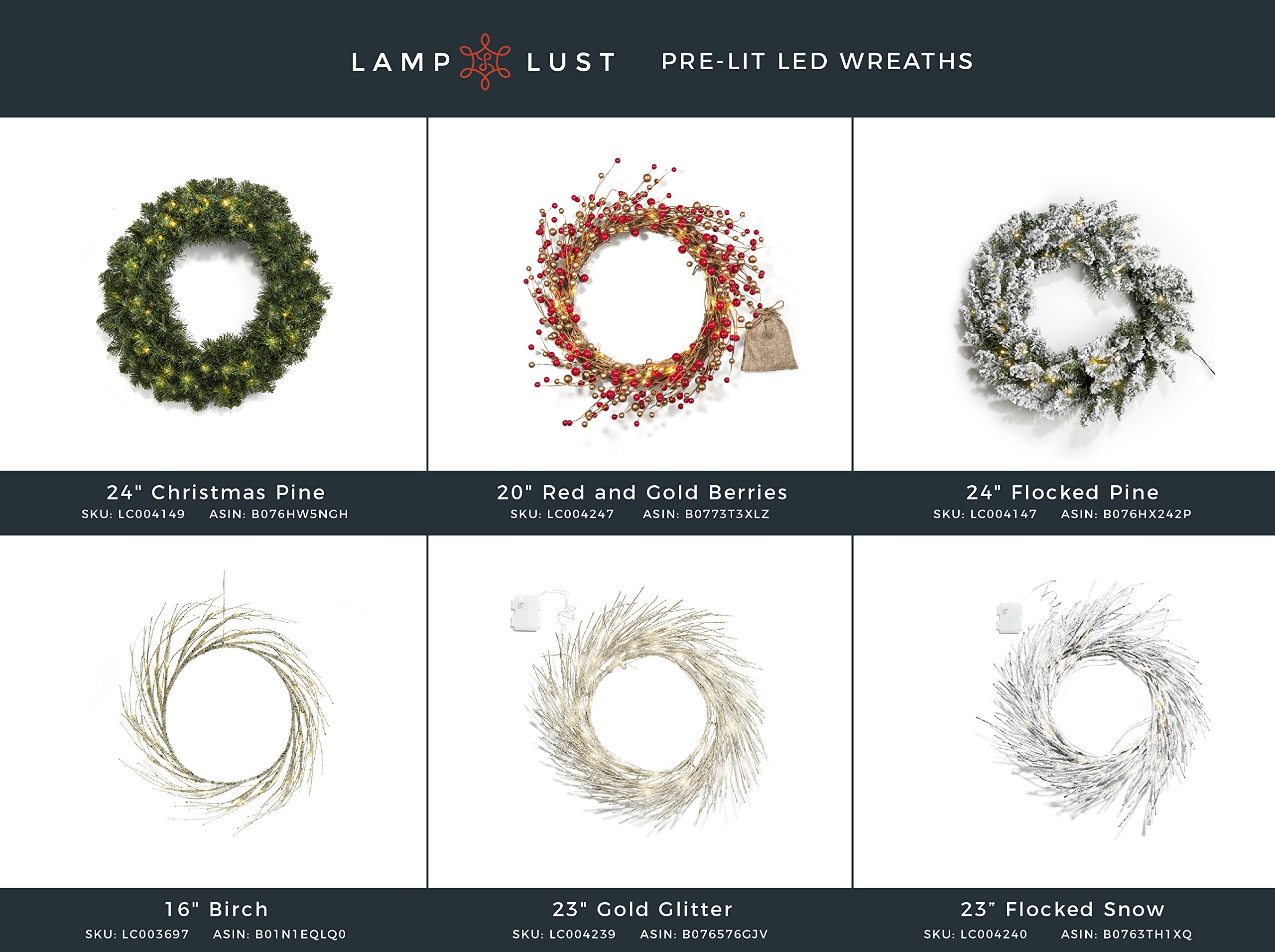 16'' Birch Pre-lit Cordless Wreath, 60 Warm White LEDs, Battery Operated, Indoor/Outdoor, Portable, Timer & Batteries Included by LampLust (Image #5)