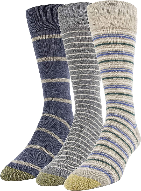 Gold Toe Men's Multistripe Crew Socks, 3 Pairs