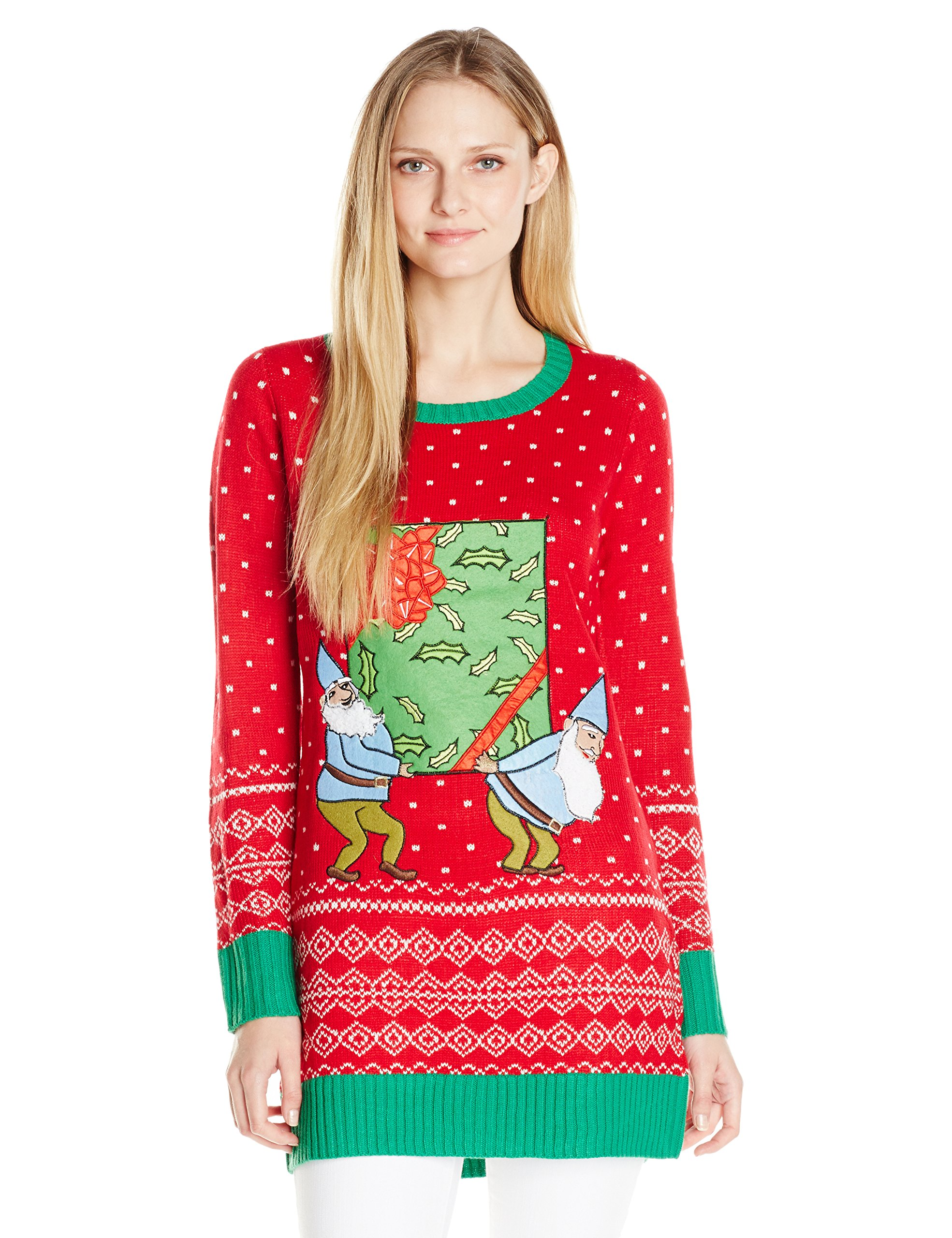 Blizzard Bay Women's Elves Holding A Present with A 3D Pocket Tunic Ugly Chritstmas Sweater, Red, S