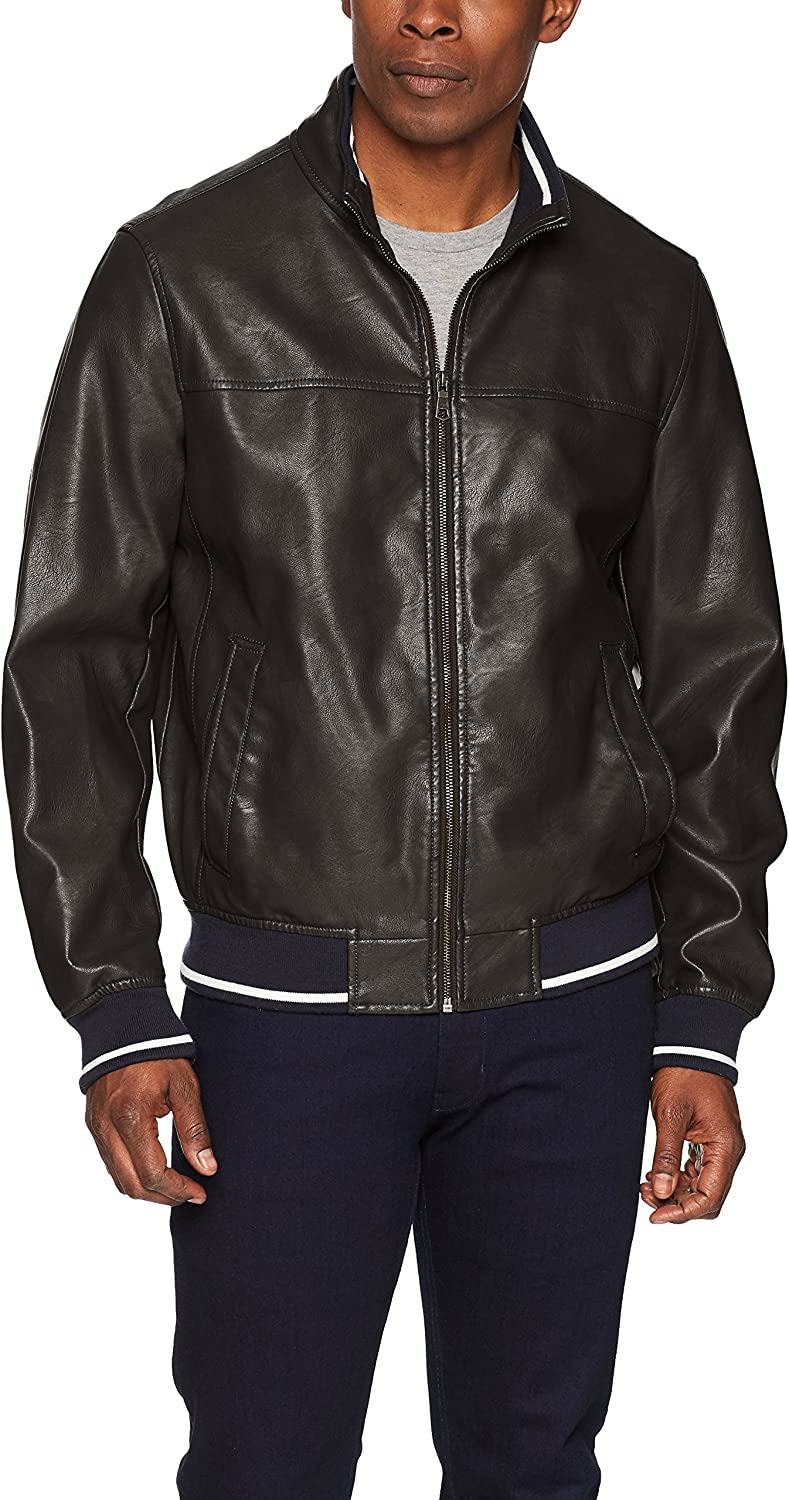Tommy Hilfiger Mens Lamb Touch Faux Leather Bomber Jacket with Contrast Rib Knit