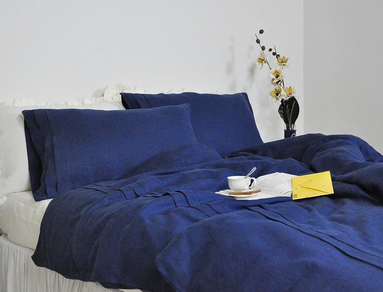 Amazon.com: Navy Linen Duvet Cover Set, Queen, King, Full Duvet